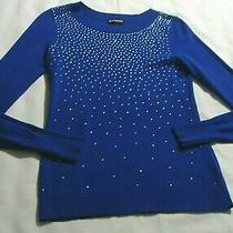 Express Bluish-Purple Long Sleeve Rhinestone Embellished Crew Neck Sweater Sz Xs Photo