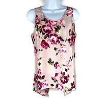 Express Blush Pink Floral Sleeveless Shell Top Size Small Back Split Blouse Photo