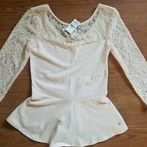 Express Blush Pink Lace Scoop Back Peplum Top Size Small New With Tags Photo