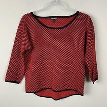 Express Boatneck High Low Knit 3/4 Sleeve Red Black Polka Dots Shirt Women's M Photo