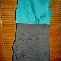 Express Bodycon Cocktail Dress Sheath Black Teal Colorblock  Sz 8 Photo