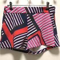 Express Bold Print Bright Striped Red Pink Black Shorts 2 S Photo