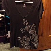 Express Brand Gray Sequin v-Neck Tee Shirt Size Medium Photo
