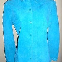 Express Bright Aqua Blue Suede Leather Long Sleeve Shirt Jacket Size Small 5 6 Photo