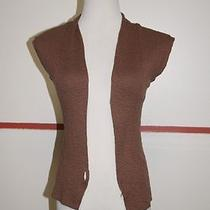 Express Brown Cotton Open Front Sleeveless Solid Casual Sweater Vest Sz M 21641 Photo