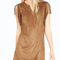 Express Brown Faux Suede Dress With Fringe at Shoulders Photo