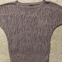 Express Brown Lurex Stitch Crochet Sweater Sz S Top Photo