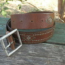 Express Brown Studded Leather Belt Size Medium  Photo