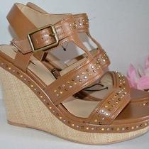 Express Brown Studded Open Peep Toe Strappy Sandal Wedge 5
