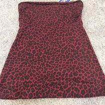 Express Burgundy & Black Animal Print Cotton Tube Top Shirt (Xs) Photo