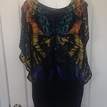 Express Butterfly Navy Colorful Dress Size M Photo