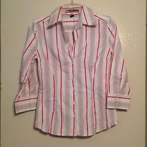 Express Button Down Long Sleeve Cotton Spandex Pinstripe Stripe M Photo
