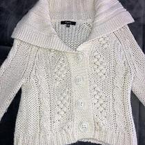 Express Button Down Offwhite Knit Sweater Size Xs 3/4 Length Sleeve Photo