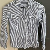 Express Button Down Shirt Top Blouse Blue White Striped Cuff Sleeve Xs Photo