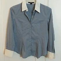Express Button Front Blouse Blue Long Sleeve Size Large Photo