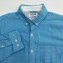 Express Button Up Shirt Men's Large Long Sleeve Blue White Gingham Soft Wash Photo