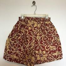 Express Campanie Internationale Maroon Beige 100% Silk Shorts Size Petite M / S Photo