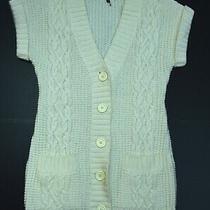 Express Cardigan Merino Wool Designer Cream Cable Knit Sweater Size Small  Photo