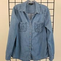 Express Chambray Shirt Womens Medium Light Denim Blue Cotton Button Up Photo