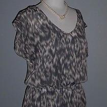 Express Chiffon v Neck Top Gathered Waist v Neck Gray Abstract Leopard Print M Photo