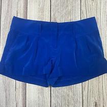Express Chino Dress Shorts Womens Size 4 Blue Metallic Pleated Cuffed Pockets Photo