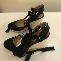 Express Closed Toe Rope Ankle Tie Wedge Espadrilles Black Wedge Sandals Size 6 Photo