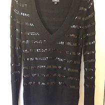 Express Clothing Sequined Striped v Neck Sweater Size M Photo