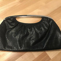 Express Clutch Handbag Faux Leather Snake Print Silver Magnet Top Handle Photo