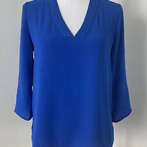 Express Cobalt Blue v Neck 3/4 Roll Sleeve High-Low Top Size Xs Photo