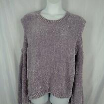 Express Cold Shoulder Chenille Sweater Size Large Bell Sleeve Purple New Photo