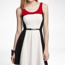 Express Colorblock Skater Dress Red White Black Size S Photo