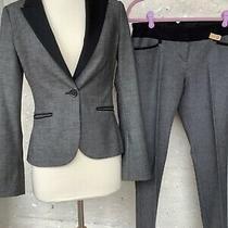 Express Columnist Suit Set Blazer Jacket 2 Pant 0 Womens Xs Gray Black Career  Photo