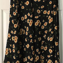 Express Compagnie Internationale Black Floral Poly Maxi Wrap Skirt Medium Euc Photo