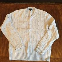 Express Cotton v Neck Cable Knit Sweater Medium Light Blue Photo