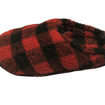 Express Cozy Red/black Plaid Slippers Pull Tie Heel for Snug Fit Sz 9m Women New Photo