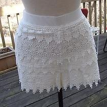 Express Crochet Lace Shorts White Elastic Waist Large Photo