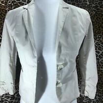 Express Crop Blazer Jacket Womens Size 00 Beige 3/4 Sleeves Pockets Button Down Photo