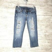 Express Cropped Jeans Sz 6 Blue Denim Ankle Grazer Photo