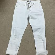 Express Cropped Mia Fit White Denim 6r Distressed Photo