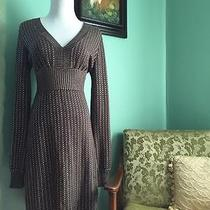 Express Curvy Knee Length Long Sleeve Sweater Dress Brown and Gold Small Photo