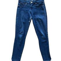 Express Dark Blue Wash Distressed Denim Stretch Legging Pants Jeans Size 4 R Photo