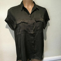 Express Dark Brown Short Sleeve  Button Down Shirt Blouse - Women's Sz  Xs   Photo