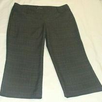 Express Dark Gray/black Plaid Crop Capri Pant Sz 12 (22 Inch Inseam)-- Photo