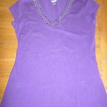 Express Dark Purple Studded Stretch Tee Large Photo