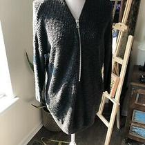 Express Deep v Neck Half Zip Oversized Grat Sweater Xs Photo