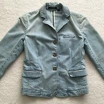 Express Denim Blazer Button Down Jeans Jacket Light Blue Cotton Blend Size Xs Photo