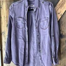 Express Denim Boyfriend Shirt Womens Xsmall Button Front Pocket Military Style Photo