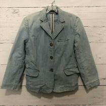 Express Denim Jean Blazer Jacket Size Small Fittted Light Wash Button Up V15 Photo