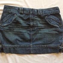 Express Denim Mini Skirt Women's Size Size 8/10 Distressed Precision Fit Photo