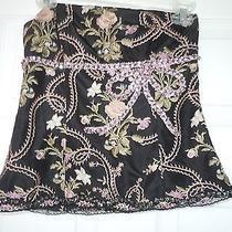 Express Design Studio 100% Silk Black Pink Rose Embroidered Bead Corset Size O Photo